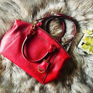Red Michael Kors satchel crossbody purse